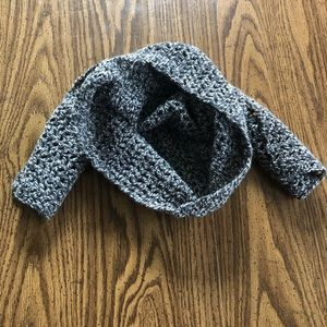 HANDMADE grey and white wool blend scarf